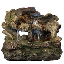 Water Fountain - Aged Tree Trunk Indoor Electric Tabletop Fountain & Led Lights