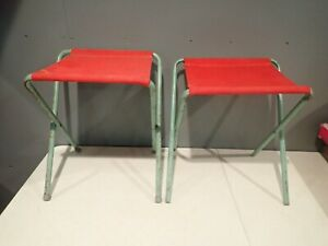 Vtg Vintage Canvas Red Coleman Aluminum Folding Camping Stools Chairs Lot Of 2