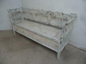 A Shabby Chic White 3 Seater Antique/Old Pine Kitchen/Hall Box Settle/ Bench