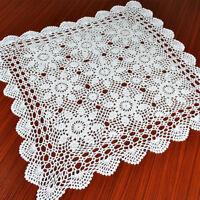 White Vintage Lace Hand Crochet Tablecloth Square Cotton Table Mats Doilies 60cm
