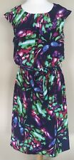 NWT Coldwater Creek Navy Blue Multi Floral Collage Dress Elastic Waist Size 12