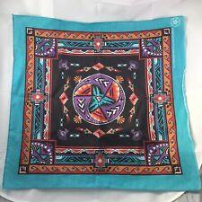 Southwestern Aztec Bandana Scarf Turquoise Purple Orange Made in USA Vtg 1980s