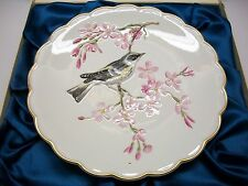 """DOUGHTY BIRDS PLATE 1973 MYRTLE WARBLER IN CHERRY TREE 2ND ISSUE 9"""" DIA W/STAND"""