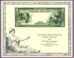 BEP 1992 IPMS B158 Intaglio Souvenir Card 1915 $5 Federal Reserve Bank Note Rev.