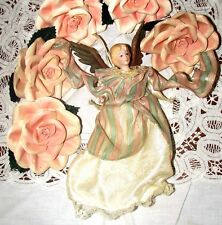 Shabby Chic Victorian 5 Christmas Ornaments Clip on Salmon/Pink Roses & 1 Angel
