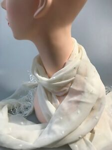 SABA Donna spot long silk scarf ivory in colour new with tag