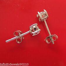Unisex Round Brilliant Cut Mens or Ladies Stud Earrings 925 Sterling Silver 4mm