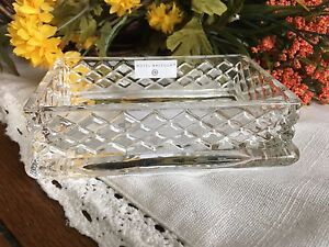 HOTEL BALFOUR HEAVY CRYSTAL SOAP/TRINKET DISH WITH 3 D PATTERN NEW