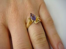 14K YELLOW GOLD AMETHYST CATHEDRAL SETTING LADIES RING, 3.7 GRAMS, SIZE 7.25
