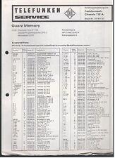 Service Manual Telefunken Schaltergänzung Chassis 712A Quarz Memory
