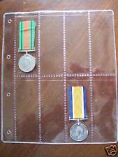 PLASTIC PAGES for WAR MEDAL COLLECTION 8 pocket PAGES for MEDALS - Pack of 12