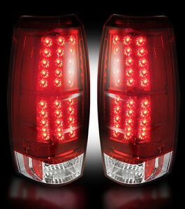 2007-2013 Chevy Avalanche Red LED Reverse Rear Brake Taillight Tail Light Lenses