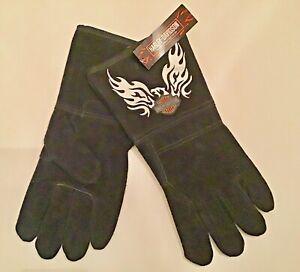 NWT Men's Harley Davidson Flaming Eagle Cow Hide Lined Welders Gloves Large