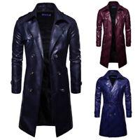 Men's Leather Long Jacket Windbreaker Print Coat Double-breasted Lapel Parka Hot