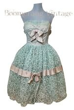 New listing Vintage 50s Pink Green Tulle Lace Ruffle Cupcake Prom Wedding Party Dress Xs