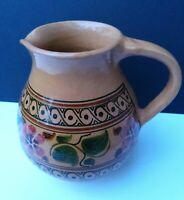 Vintage Terracotta Glazed Jug Made in Cyprus by Dyzayb 74 SIGNED