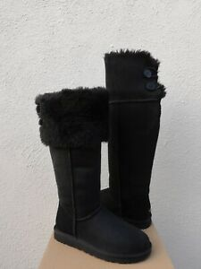 UGG BLACK OVER THE KNEE BAILEY BUTTON SHEEPSKIN BOOTS, WOMEN US 9/ EUR 40 ~NEW