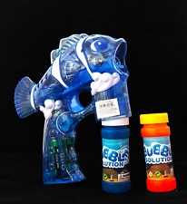 Blue Nemo Bubble Gun Blower Blaster with Flashing LED Lights & Music 2 Refill