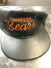 Leather Chicago Bears Text Hat Midwest Football Sports Vintage Old School