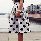 Fashion Women's Skirt Bodycon Polka Dot Umbrella Skirt Retro Puffy Skirts White