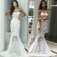 Womens Strapless Lace Bodycon Party Evening Wedding Bridesmaid Long Maxi Dresses