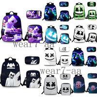 Kids Boys Girls Marshmello Backpack Lunchbag Pencilcase 3PCS Rucksack School Bag