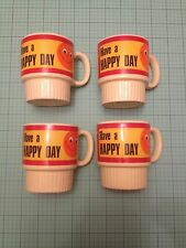 Lot Of 4 Japan Smiley Face Yellow Stacking Tea/cafe Cups