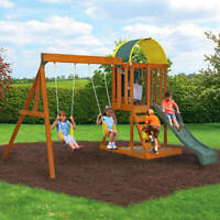 Wooden Swing Set Outdoor Backyard Kids Children Play Slide Clubhouse Sandbox