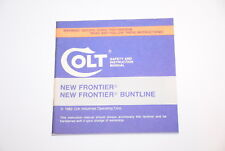 Colt Manual/Instruction Booklet New Frontier/New Frontier Buntline Revolvers New