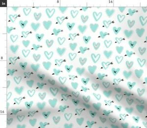 Love Heart Love Heart Mint Heart And Spoonflower Fabric by the Yard