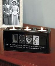 Love Sentiment Tealight Candle Votive Holder Ceramic Block Accent Decor Gift