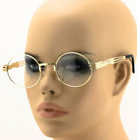 Elite Round Steampunk Vintage Crafted Thick Temple Clear Lens Sun Glasses NEW