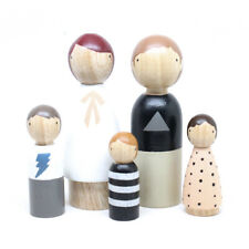 More details for hand made wooden peg dolls - the monochrome family
