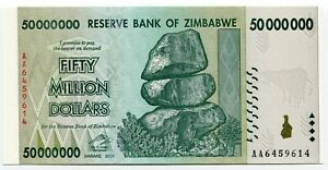Zimbabwe 50 Million Dollar AA 2008 Banknote UNC P79 Cutting Error
