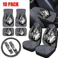 Animal Wolf Car Seat Covers Full Set with Floor Mats,Steering Wheel Covers 10PC