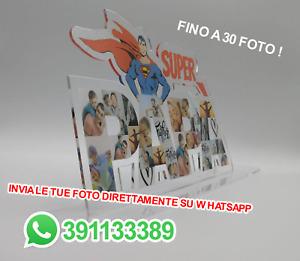 Regalo festa del papà SUPER PAPÀ plexiglass da tavolo COLLEGE PERSONALIZZABILE