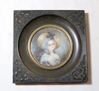antique 1800's portrait Victorian lady miniature painting gutta percha frame