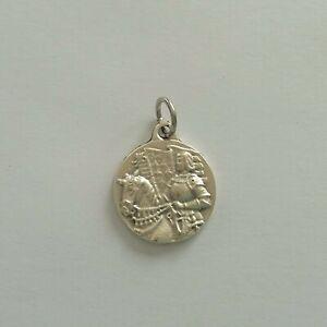 Religious Medal Médaille Sainte JEANNE d'ARC à Cheval en Métal coloris Argenté