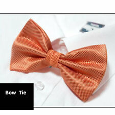 Bow Tie Orange White Check Woven Pre Tied Necktie Geometric Men's Tie New