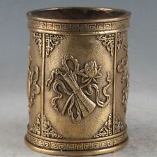 Chinese old Brass MING XUANDE gourd lotus peach Pen container Brush Pot