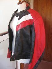 """ECHTES LEDER Real leather STRIPE BIKER RACER JACKET Mens 40-42"""" ladies UK 14 16"""