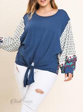 Umgee USA | Paisley Print Puff Sleeve Slub Knit Top | NWT Size: XL