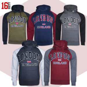 Mens Hoodie Embroidered Fleece London Logo Long Sleeves Hooded Gym Pullover Top