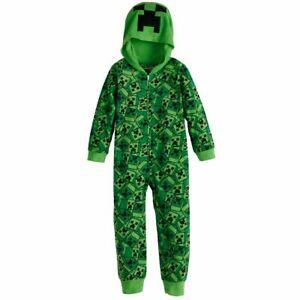 NWT Minecraft Creeper Hoodie Union Suit One Piece Sleeper Pajamas S M L Boy Girl