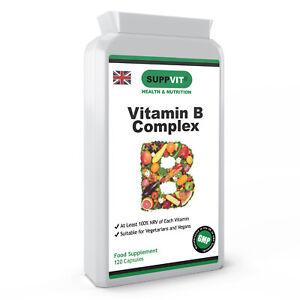 SALE Vitamin B Complex B1 B2 B3 B5 B6 B7 B9 B12 100% NRV 120 Capsules Vegan