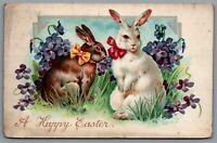 Postcard Easter c1907 Tucks A Happy Easter 2 Rabbits Violets 2 Split Ring Cancel