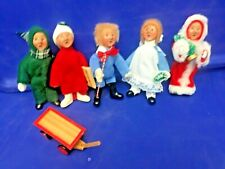 "(5) Byers Choice Children Carolers w/Wagon 1992 (5.5"" Tall)"