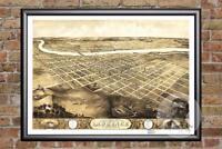 Vintage Lawrence, KS Map 1869 - Historic Kansas Art - Old Victorian Industrial