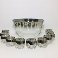 """Dorothy Thorpe 6.5""""x11"""" Punch Bowl w 11 Roly Poly Glasses Silver Ombre Glassware"""