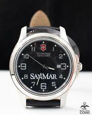 Victorinox SanMar Garrison Quartz Swiss Army Date Black Dial Leather Watch w/Box